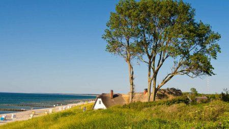 Het strand van het kunstenaarsdorp Ahrenshoop aan de Oostzee