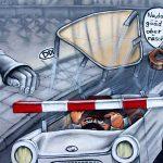 Een stukje Berlijnse muur bij Checkpoint Charlie in Berlijn.