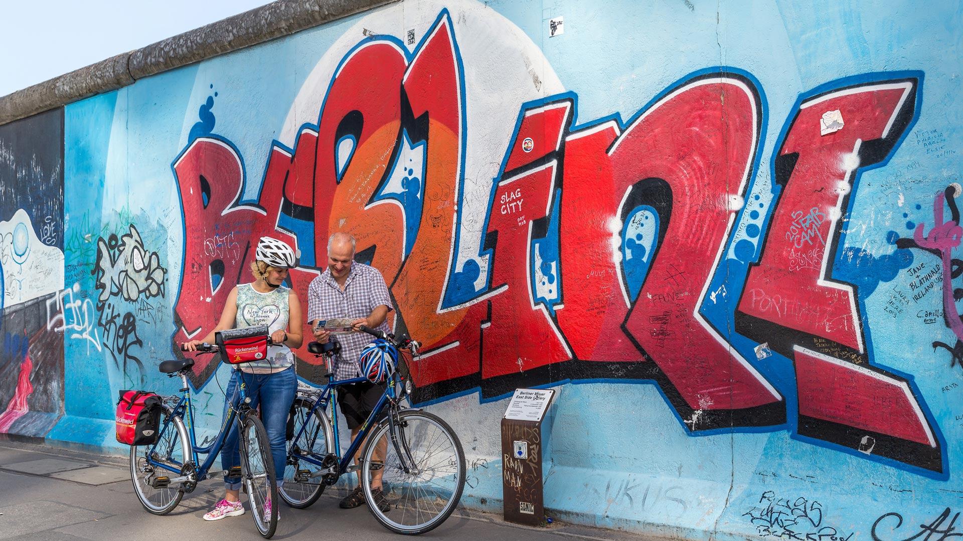 De muur in Berlijn, een van de highlights tijdens een fiets-vaarvakantie in Berlijn. © SE-Tours