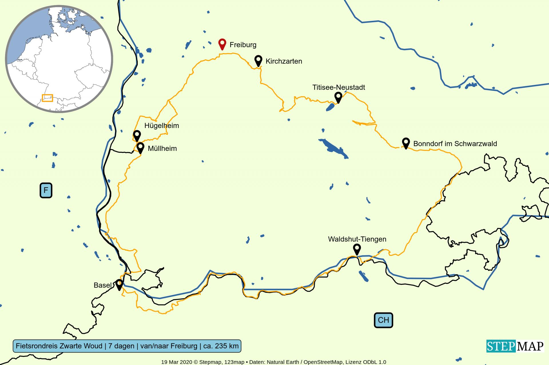 Kaart Fietsrondreis-Zwarte-Woud-van-naar-Freiburg