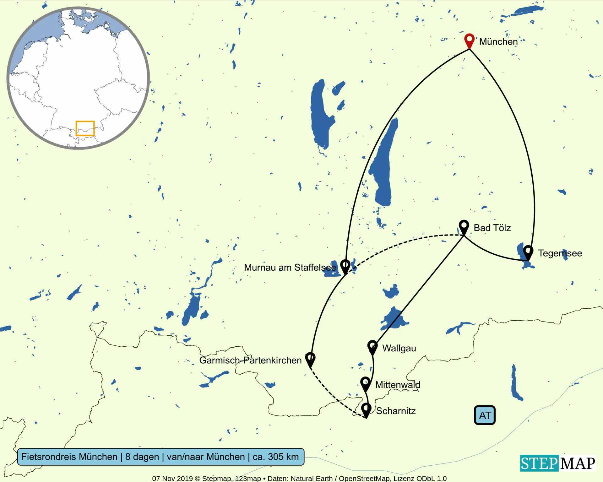 Kaart fietsrondreis vanuit München