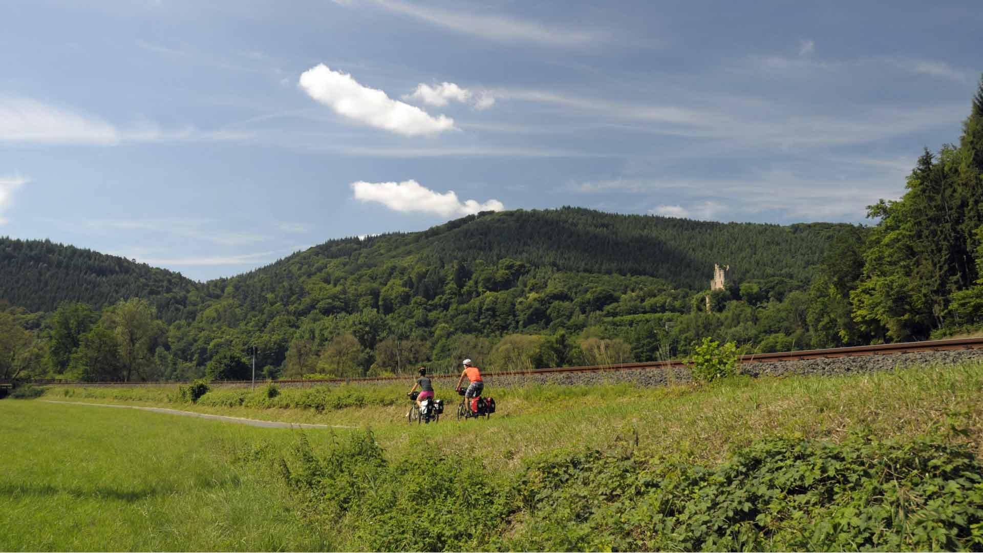 Fietsen door de natuur op de Kyll-Radweg in de Eifel.