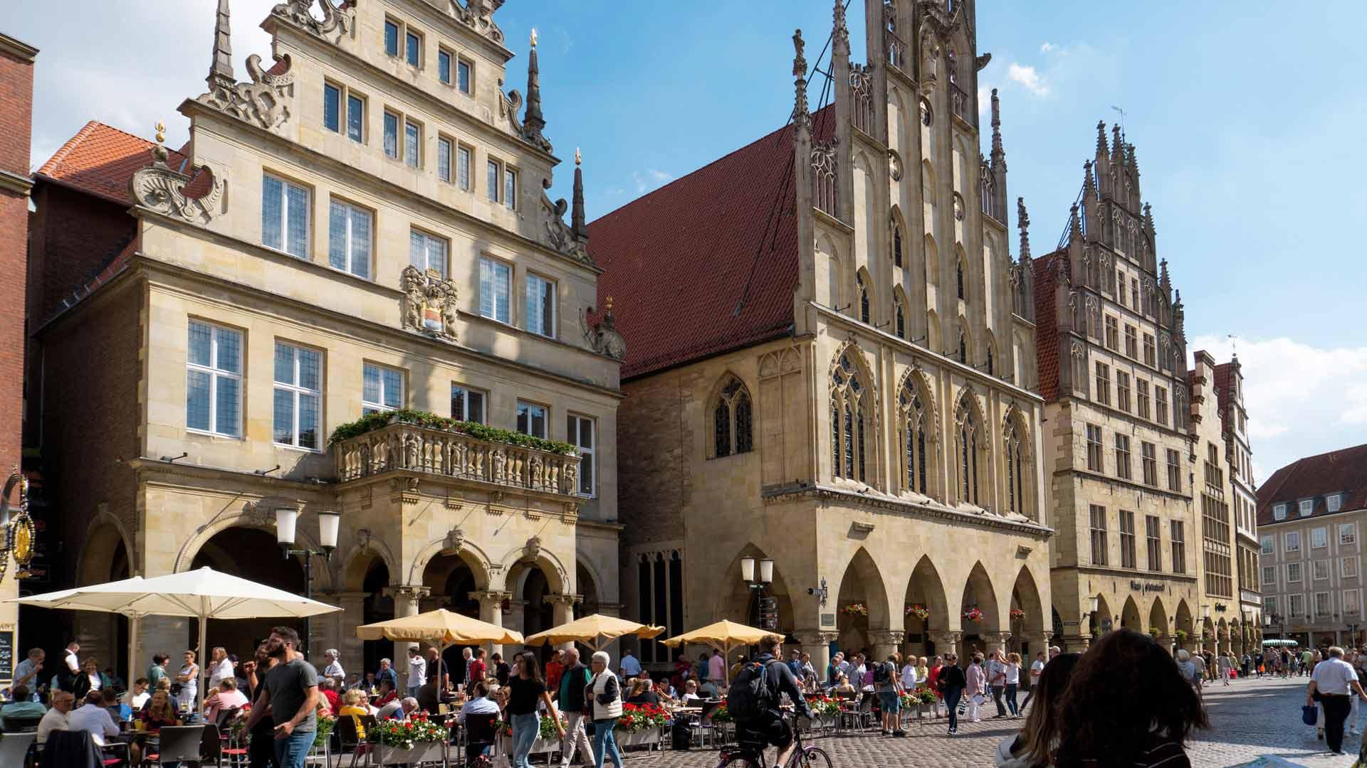 In het stadhuis van Münster werd in 1648 de Vrede van Münster getekend. © Kootstra