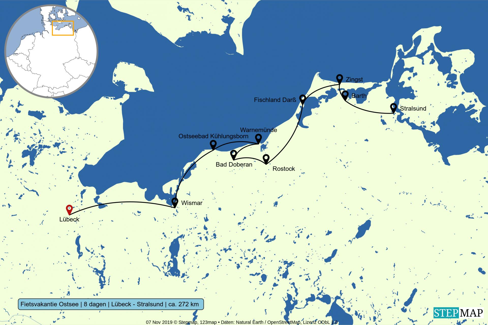 Kaart Ostseeradweg Luebeck naar Stralsund