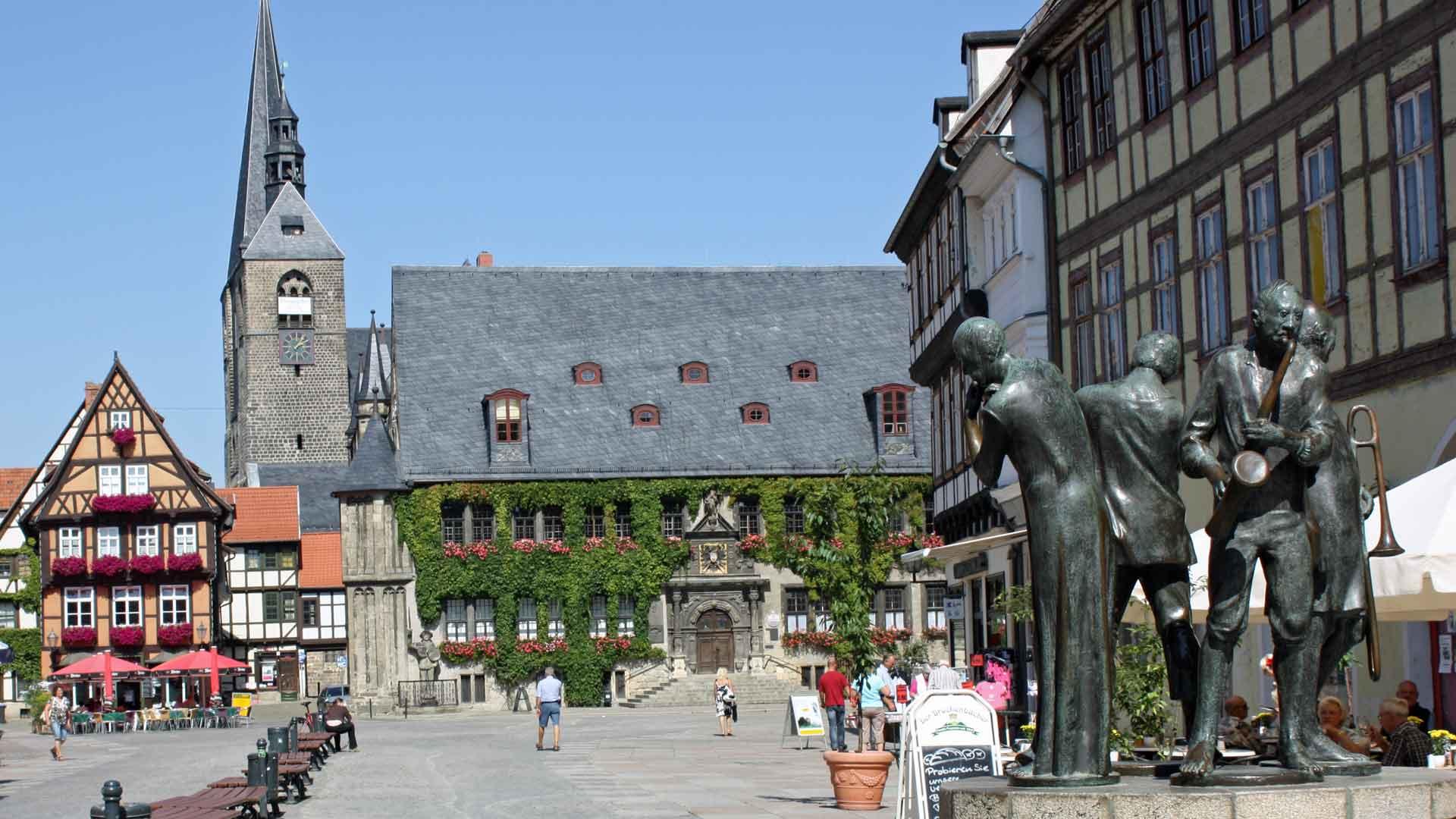 Het gezellige centrum van Quedlinburg in de Harz.