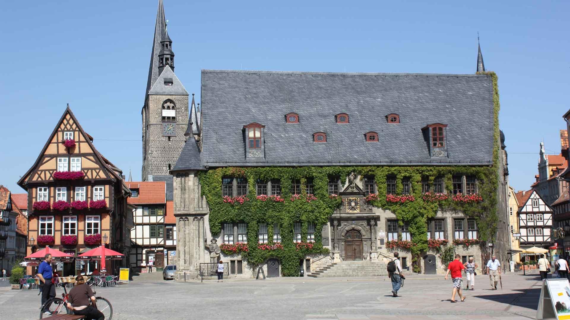 Het prachtige stadhuis van Quedlinburg.