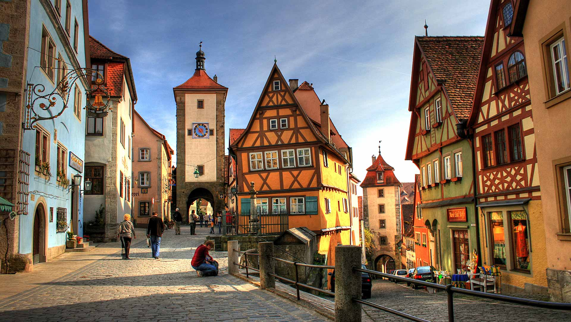 Plönlein is het beroemdste fotomotief in Rothenburg ob der Tauber.