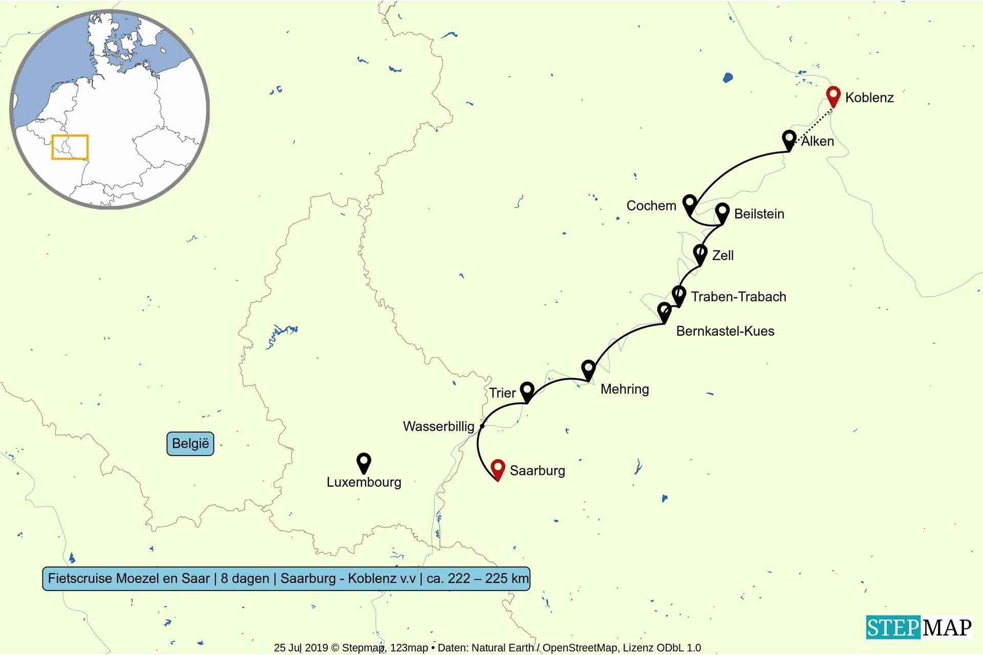 Route van de fietscruise op Moezel en Saar - Saarburg - Koblenz v.v.