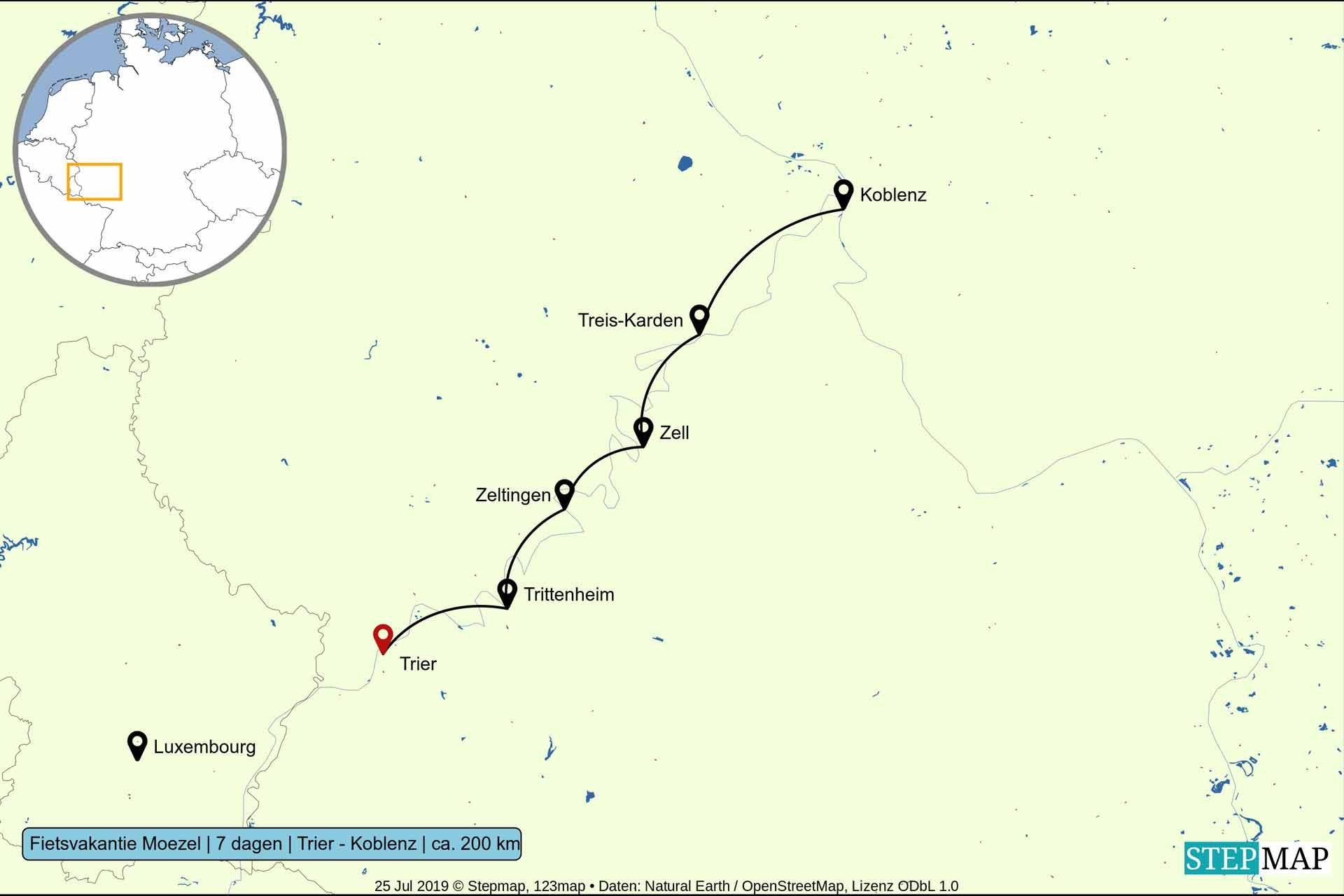 Route fietsvakantie langs de Moezel van Trier naar Koblenz - 7 dagen