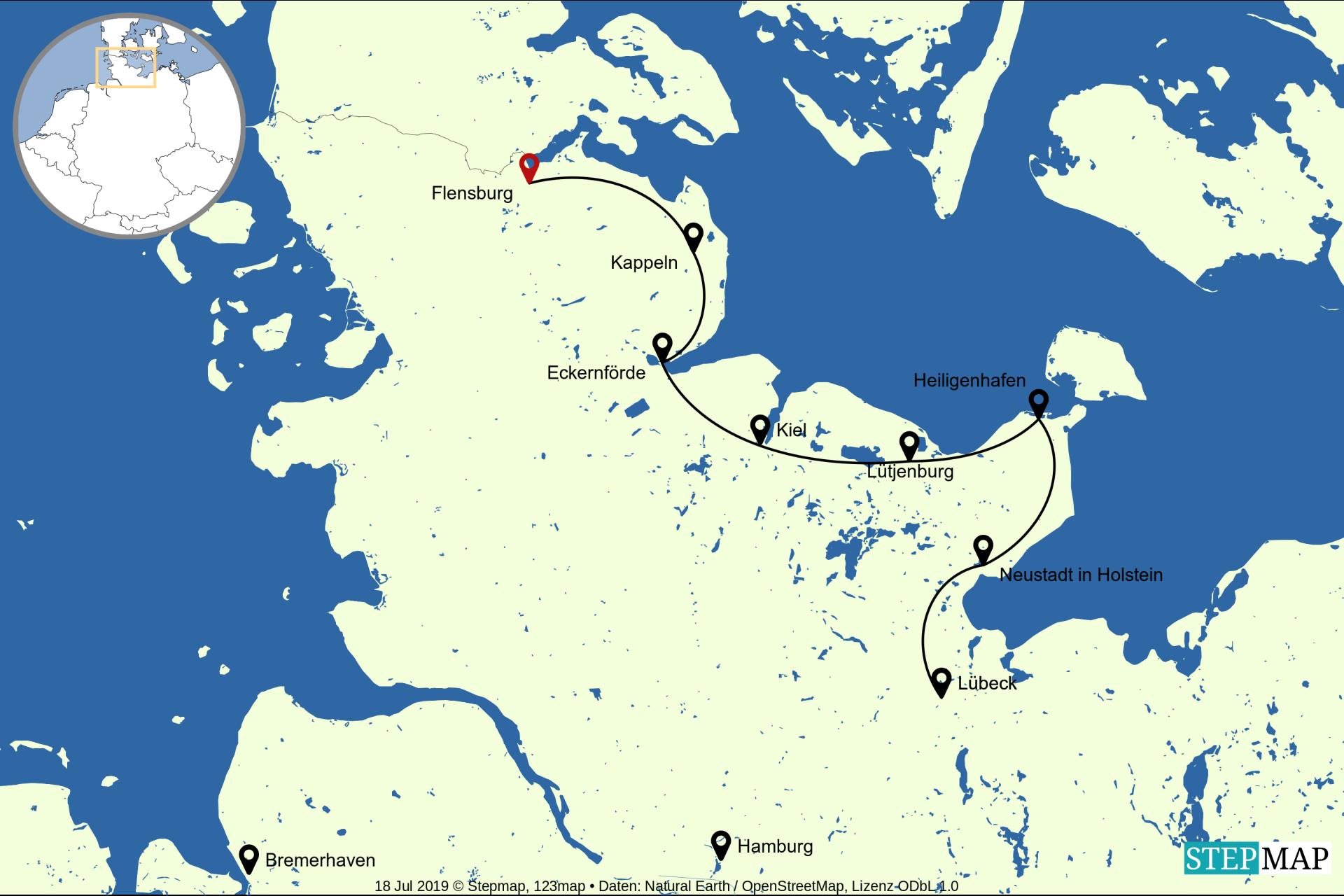 kaart van de fietsvakantie langs de Ostzee van Flensburg naar Lübeck