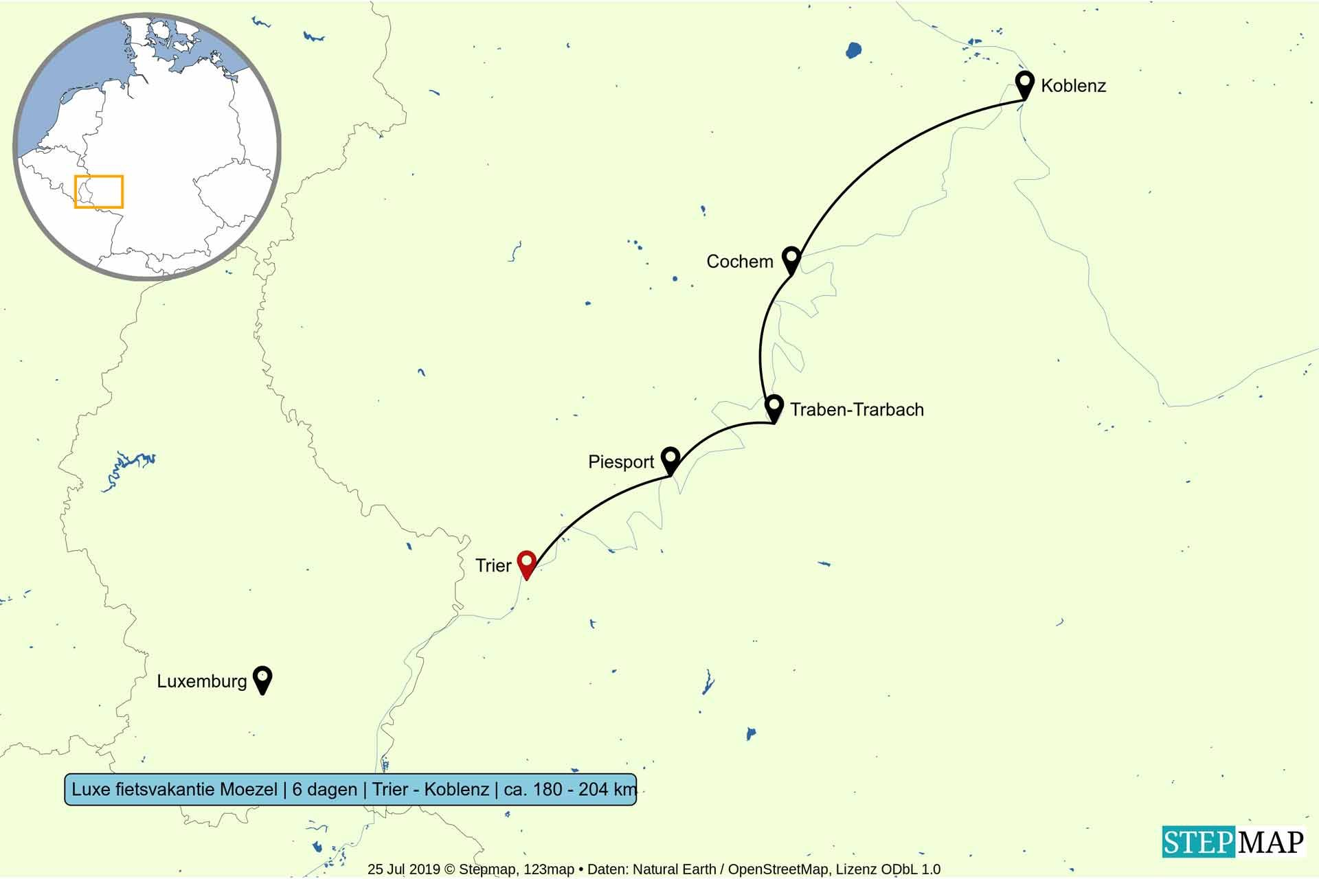 Route van luxe fietsvakantie langs de Moezel - 6 dagen