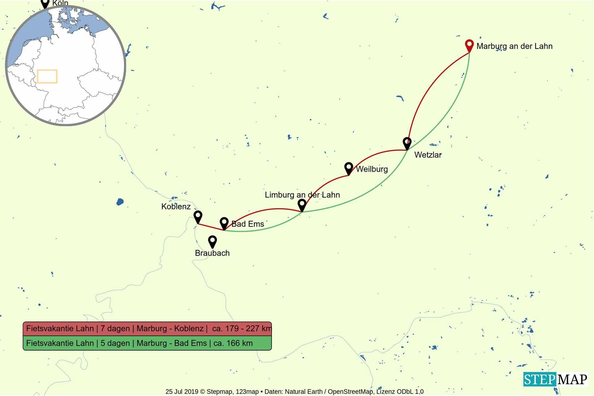 Route fietsvakantie langs de Lahn 5 en 7 dagen