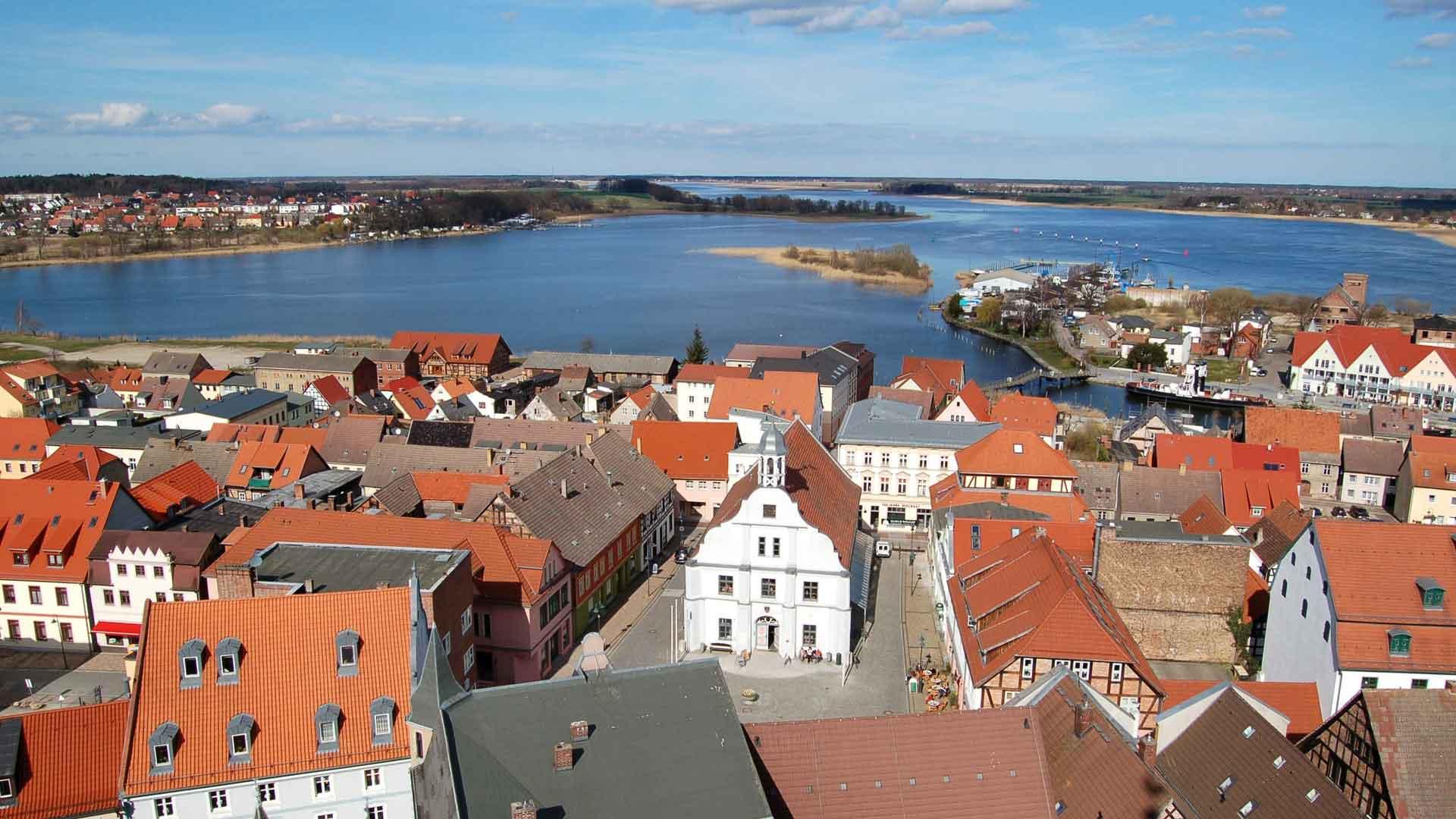 Uitzicht over Wolgast op Usedom.