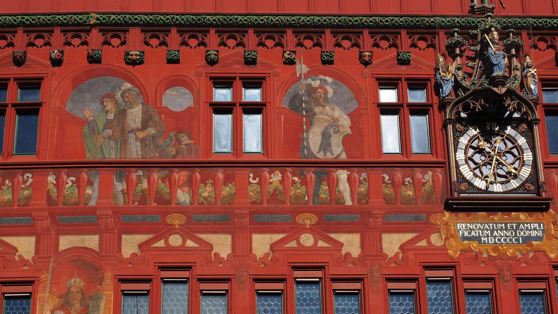 Het prachtige middeleeuwse stadhuis van Basel.