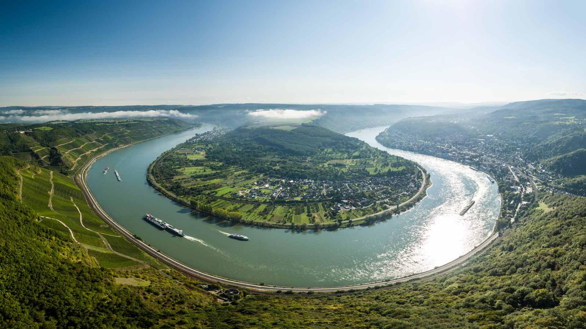 Vanaf het Gedeonseck heb je een geweldig uitzicht over de Rijn bij Boppard.
