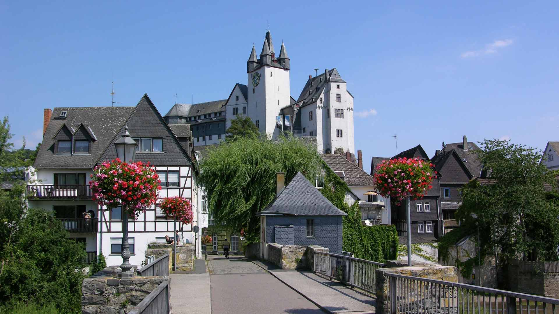 Het Grafenschloss van Diez aan de Lahn.