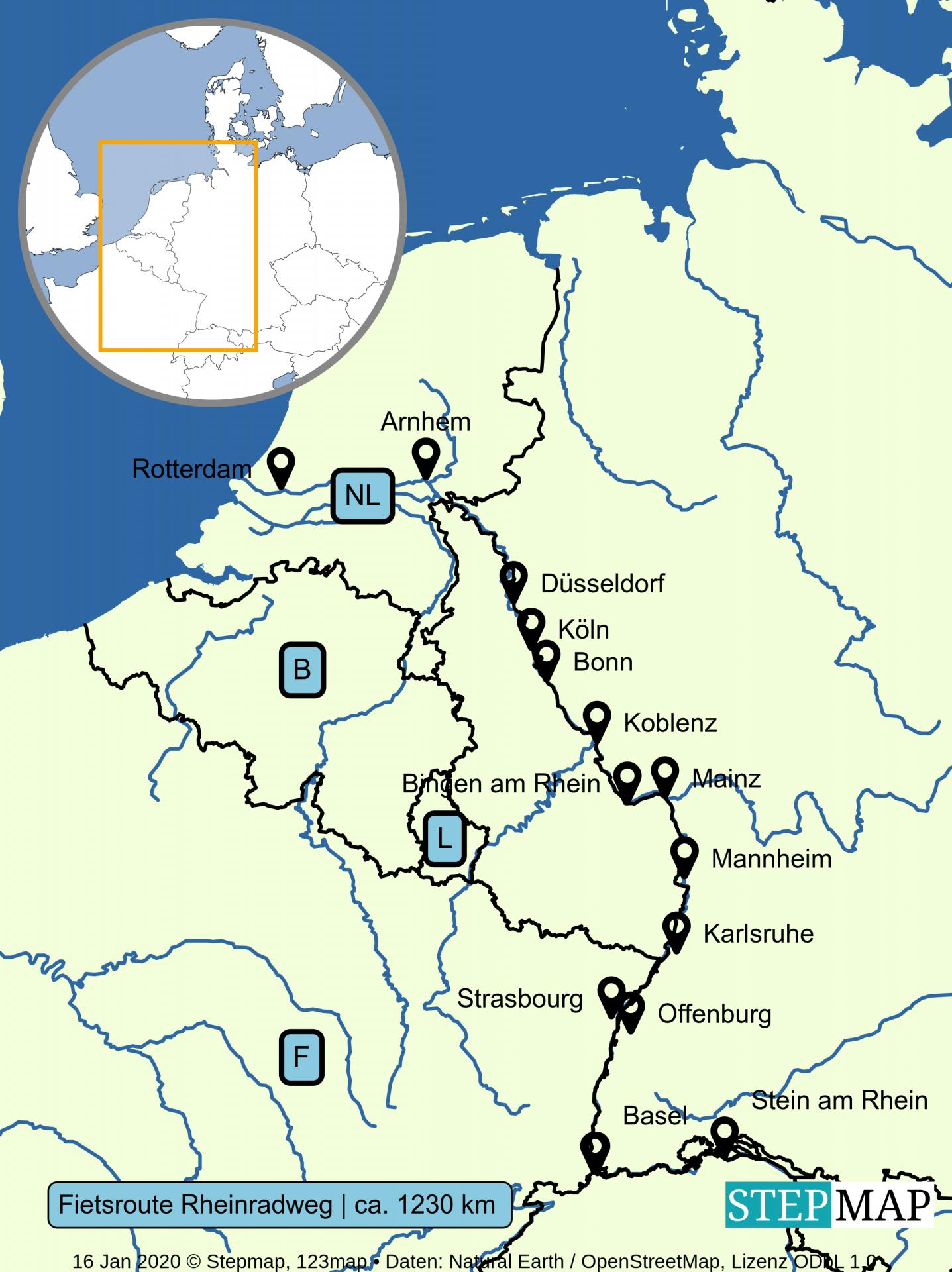 Kaart fietsroute Rheinradweg / Rijnfietsroute