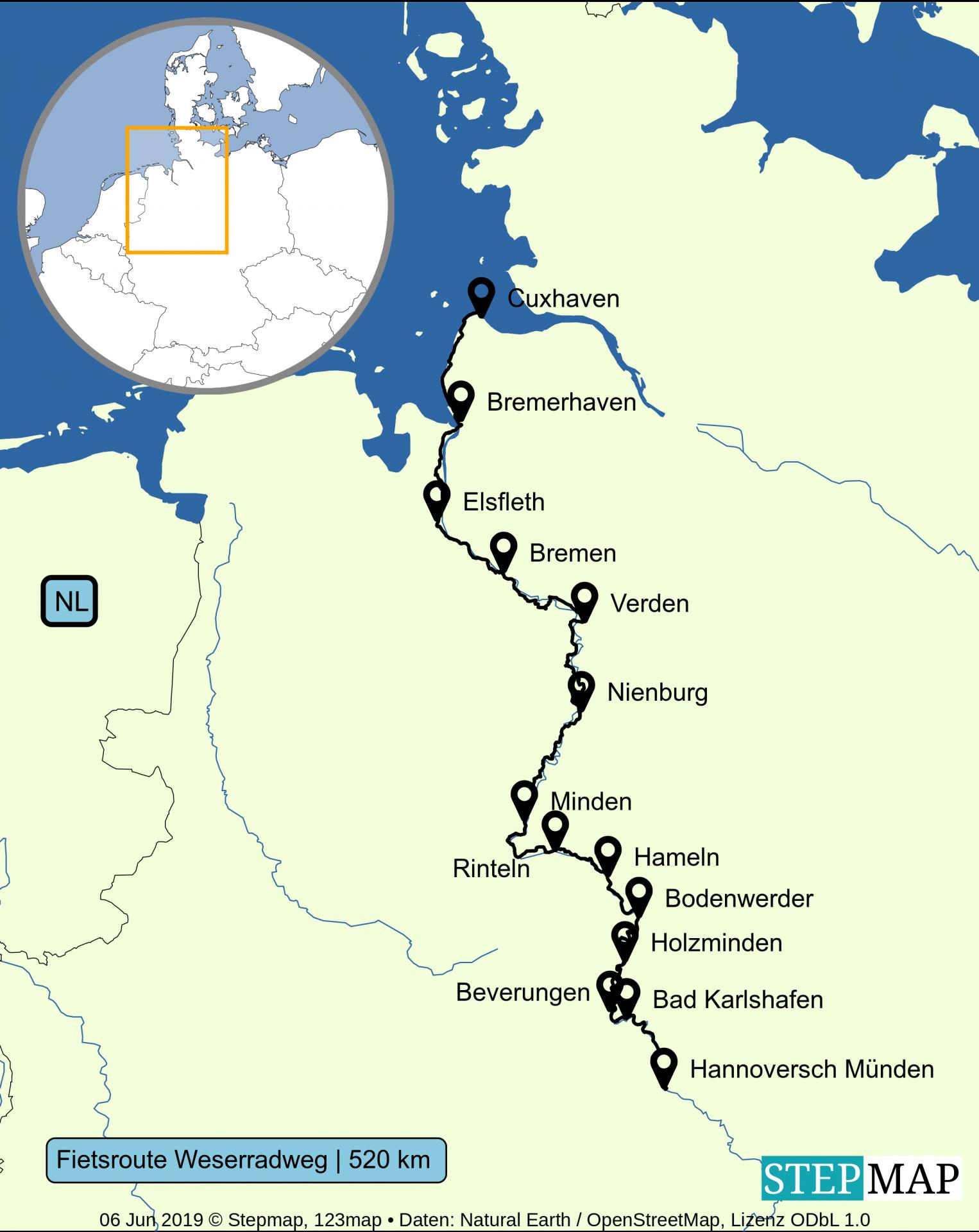 Kaart fietsroute Weserradweg