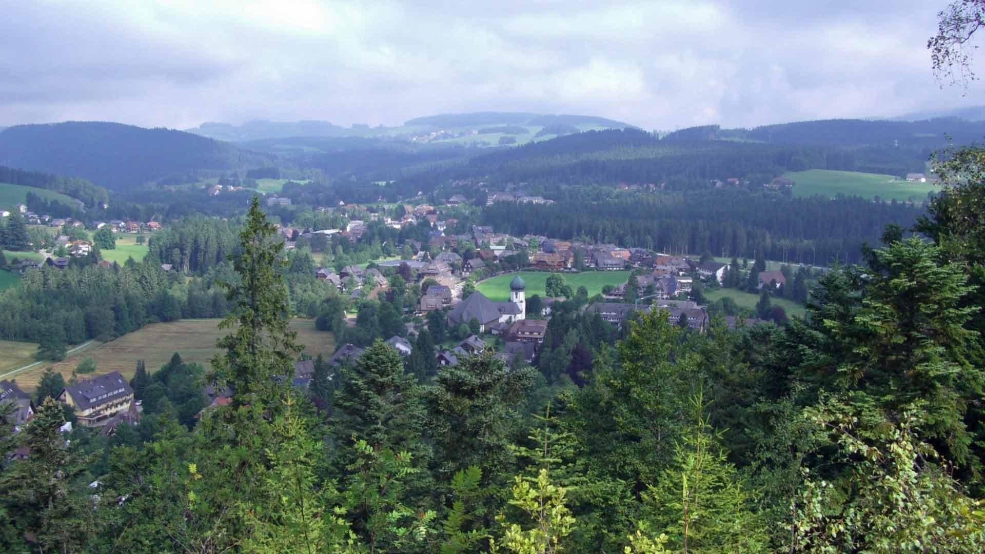 Uitzicht op Hinterzarten in het Zwarte Woud.