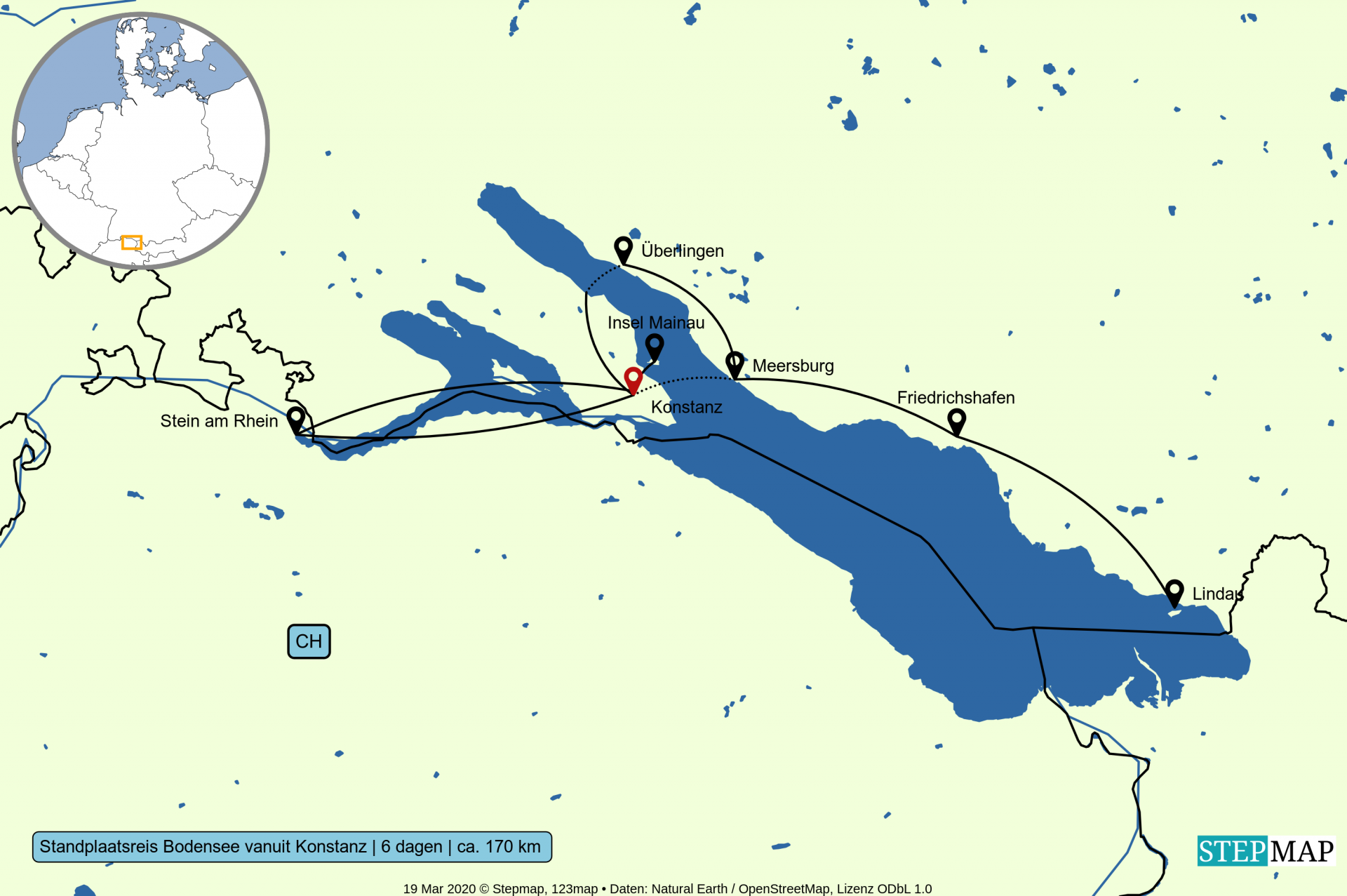Kaart standplaats fietsvakantie Bodensee vanuit Konstanz 6-dagen