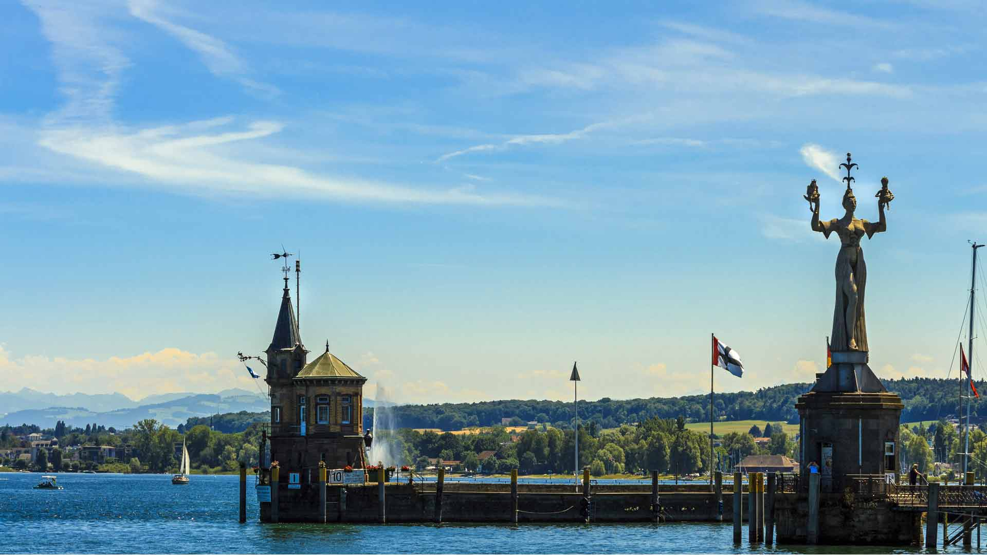 De haven van Konstanz aan de Bodensee.