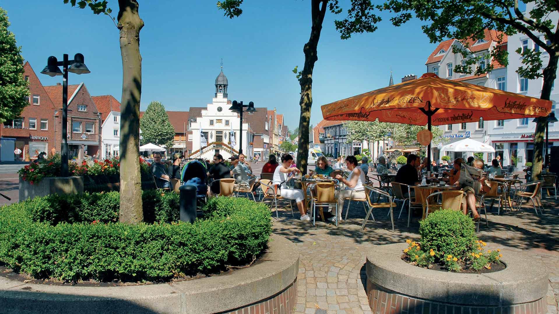 Gezellig een terrasje pakken in Lingen in het Emsland.