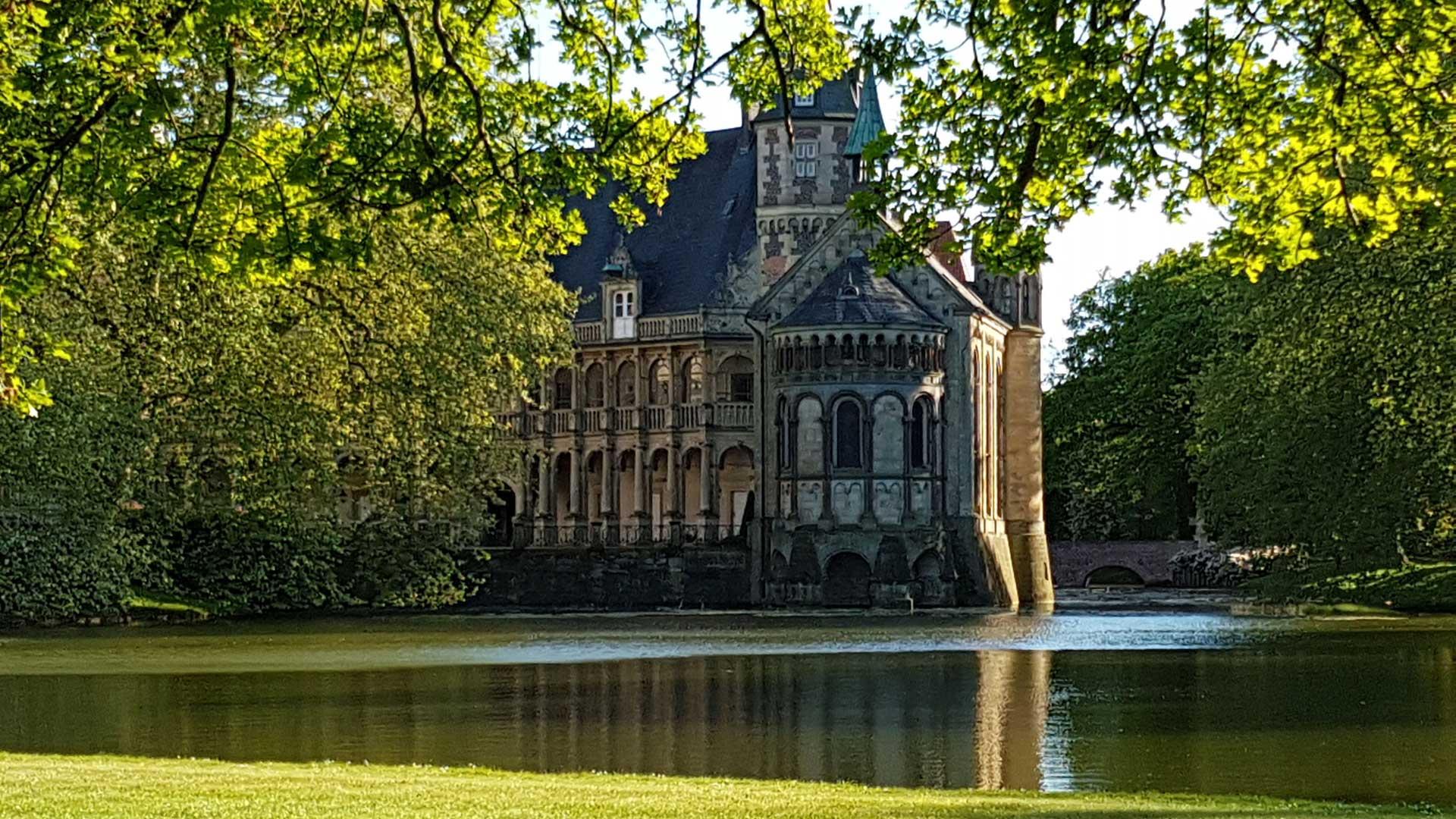 Schloss Darfeld in Billerbeck kun alleen van de buitenkant bewonderen.