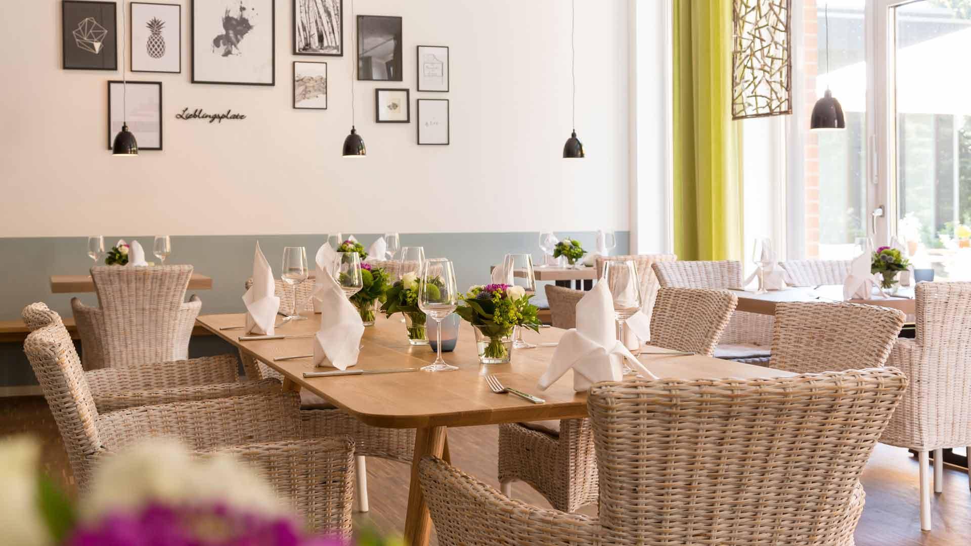 Het restaurant van Hotel Steverbett in Lüdinghausen.